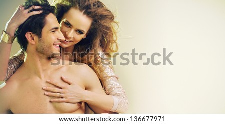 Portrait of a happy couple , lots of copy-space - stock photo