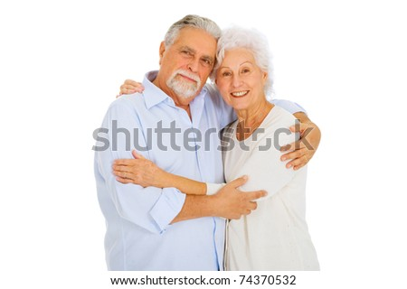 portrait of a happy couple of elderly - stock photo