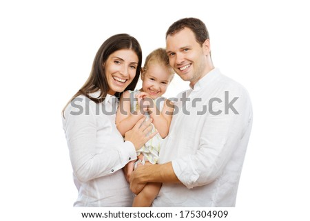 Portrait of a Happy Couple with Their Child - stock photo