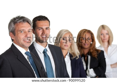 Portrait of a happy diverse business team in line on white background - stock photo