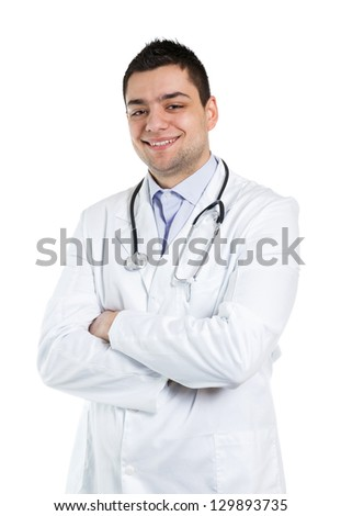 Portrait of a happy doctor.Isolated on white.