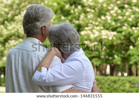 portrait of a happy elderly couple on a walk in the park in spring - stock photo