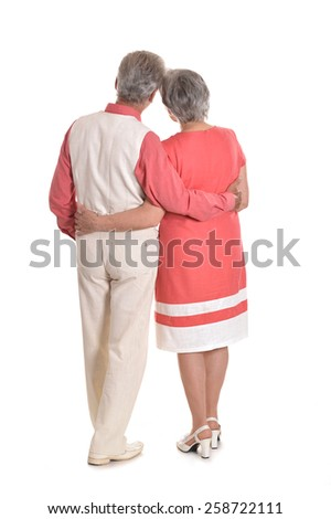 Portrait of a happy elderly couple spending time together,back view - stock photo