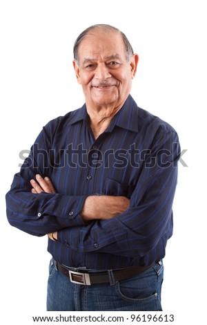 Portrait of a happy elderly East Indian man - stock photo