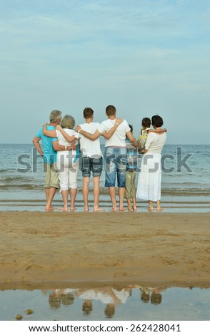 Portrait of a happy family at beach in summer,back view