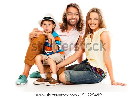 Portrait of a happy family. Father, mother and son. Isolated over white. - stock photo