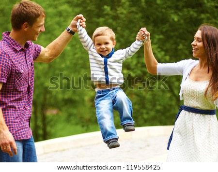 Portrait of a happy family having fun together - stock photo