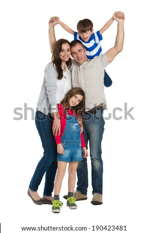 Portrait Of A Happy Family Isolated On White Background - stock photo