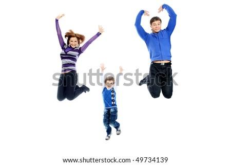 Portrait of a happy family jumping together. Isolated over white background. - stock photo