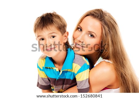 Portrait of a happy family. Mother and her son. Isolated over white.