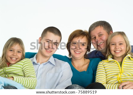 portrait of a happy family of five on white - stock photo