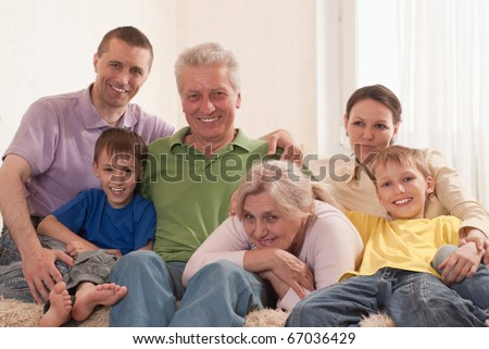 portrait of a happy family of six