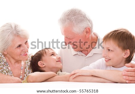portrait of a happy family  on a white - stock photo