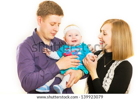 Portrait of a happy family smiling on white background  - stock photo