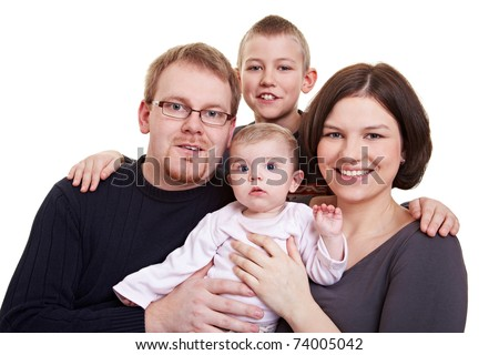 Portrait of a happy family with father and mother and child and a baby - stock photo