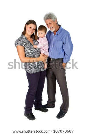 Portrait of a happy family with grandfather mother  and baby isolated against white background - stock photo