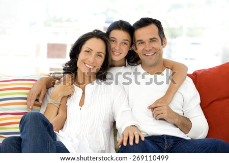 Portrait of a happy Family with one child - stock photo