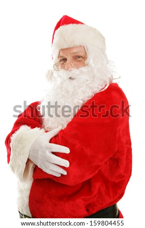 Portrait of a happy, fat Santa Claus, isolated on white.   - stock photo
