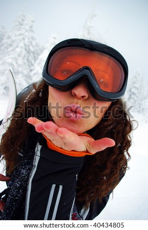 Portrait of a happy female skier