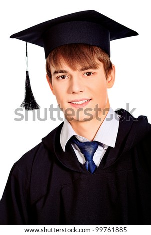 Portrait of a happy graduating student. Isolated over white background. - stock photo
