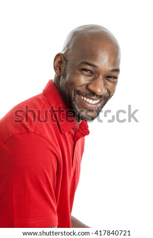 Portrait of a happy handsome late 20s black man isolated on a white background - stock photo