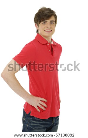 Portrait of a happy handsome young man posing in studio - stock photo