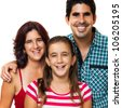 Portrait of a happy hispanic family consisting of father,mother and daughter isolated on a white background - stock photo