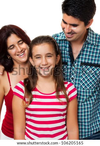 Portrait of a happy hispanic father and mother looking at her daughter with a smile isolated on white - stock photo