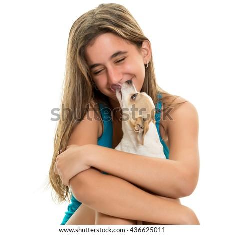 Portrait of a happy hispanic teenage girl with - stock photo