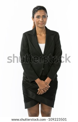 Portrait of a happy Indian business woman. Isolated on a white background. - stock photo