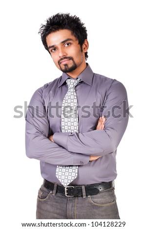portrait of a happy Indian businessman, Portrait of a successful Indian businessman isolated on white - stock photo