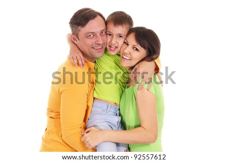 portrait of a happy kid and parents