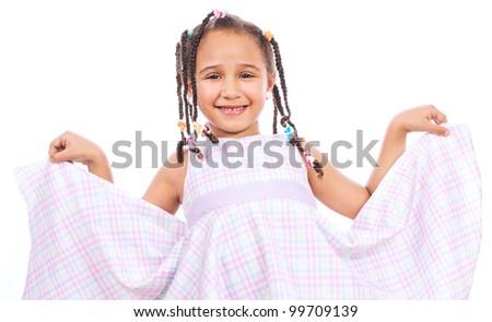 Portrait of a happy little girl - stock photo