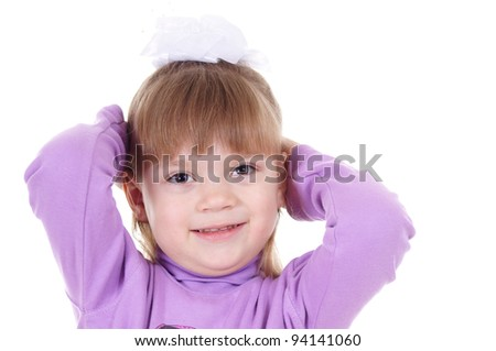 portrait of a happy little girl on white - stock photo