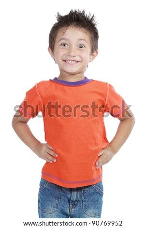 Portrait of a happy little young boy standing over white background