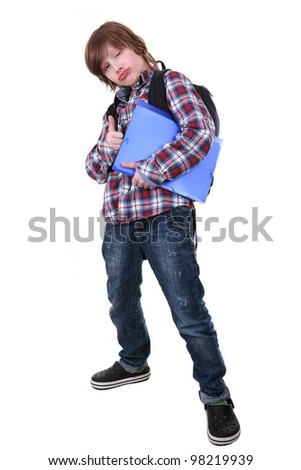 Portrait of a happy little young boy standing over white background - stock photo