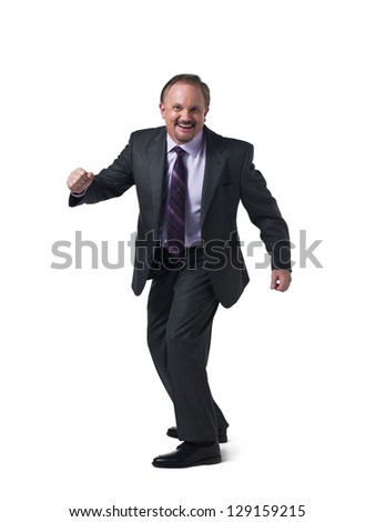 portrait of a happy mature businessman over white background