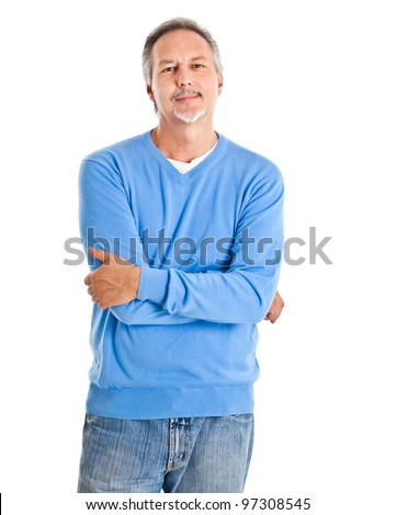 Portrait of a happy mature man isolated over a white background - stock photo