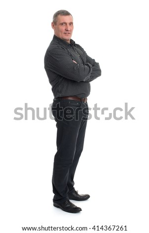 Portrait of a happy mature man isolated over a white background, full length - stock photo