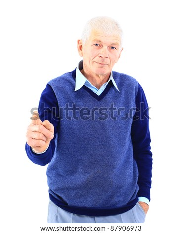 Portrait of a happy mature man showing a thumbs up on white - stock photo