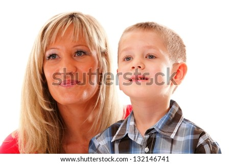Portrait of a happy mature mother with child 6 years boy isolated on white