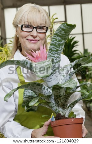 Portrait of a happy middle-aged woman holding pot plant