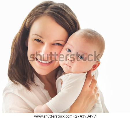 Portrait of a happy mother and child laughing and playing - stock photo