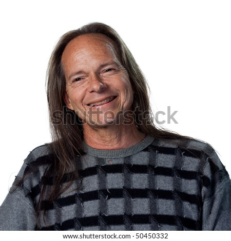 Portrait of a happy native american man - stock photo