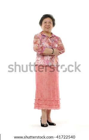 Portrait of a happy old woman with her hands folded isolated over white background - stock photo