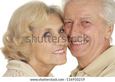 portrait of a happy older people on a white background