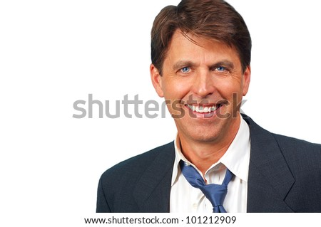 Portrait of a happy Salesman isolated on white