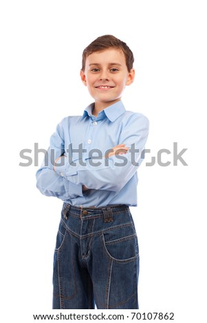 Portrait of a happy schoolboy with his arms folded, isolated on white background