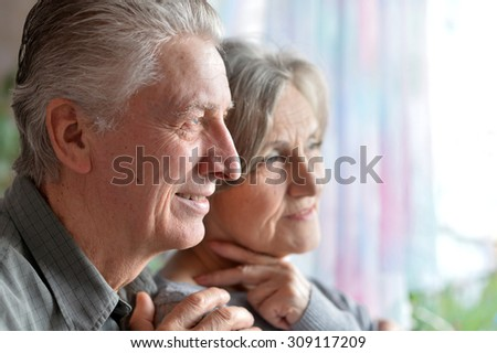 Portrait of a happy senior couple at home - stock photo