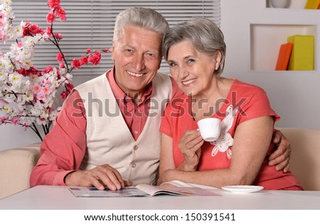 Portrait of a happy senior couple spending time together - stock photo
